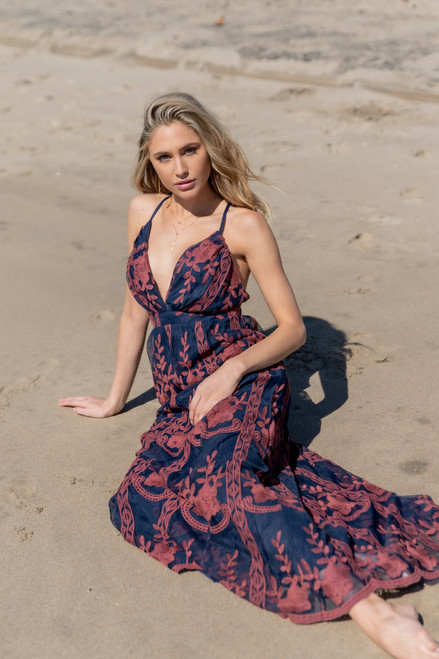 Private Villa Navy Embroidered Lace Maxi