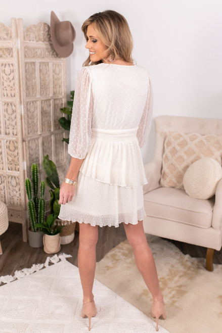 Surplice Ivory Tiered Dotted Dress