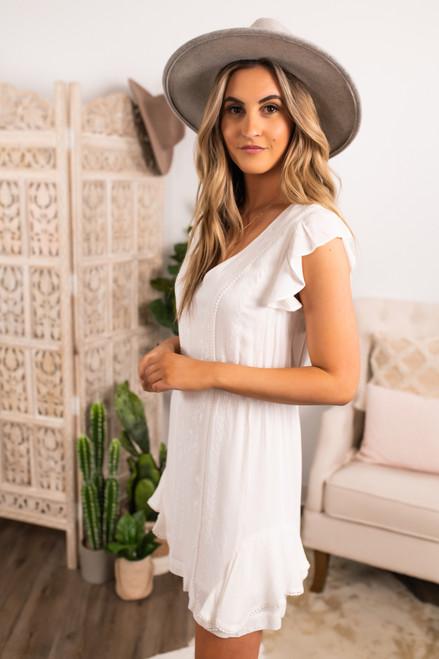 Ruffle Sleeve Ivory Embroidered Dress