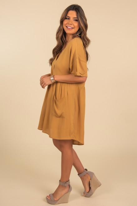 Button Down Mustard Babydoll Dress