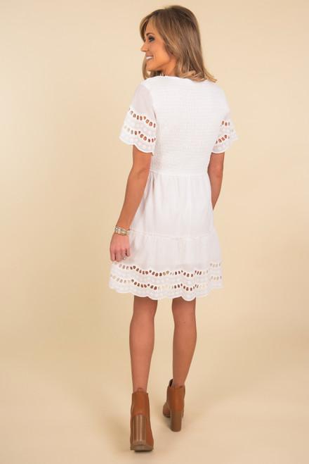 Smocked White Eyelet Trim Dress