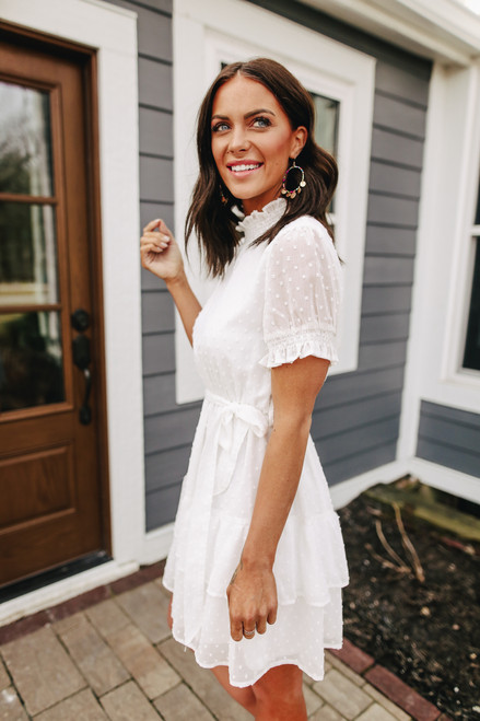 Mock Neck White Dotted Dress
