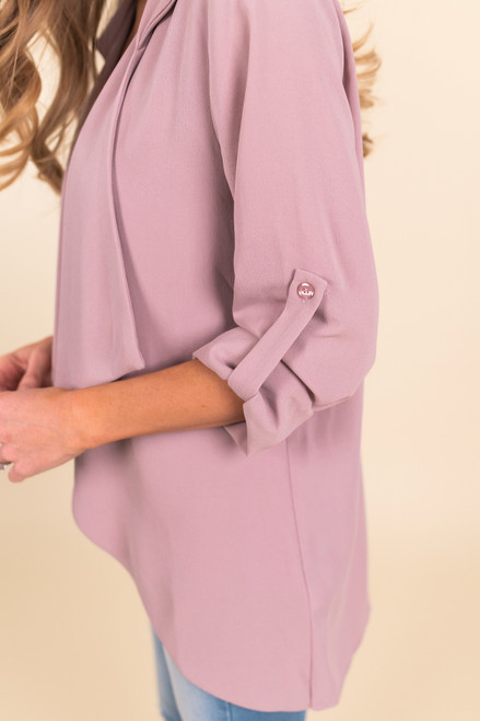 Draped Blush Roll Tab Blazer