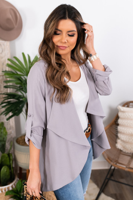 Draped Grey Roll Tab Blazer