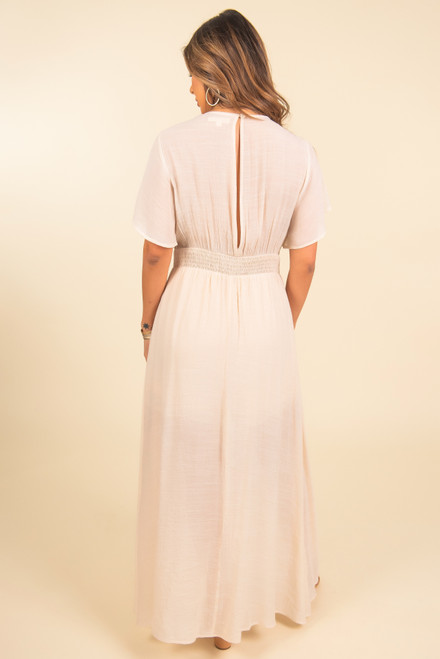 Short Sleeve Ivory Romper Maxi