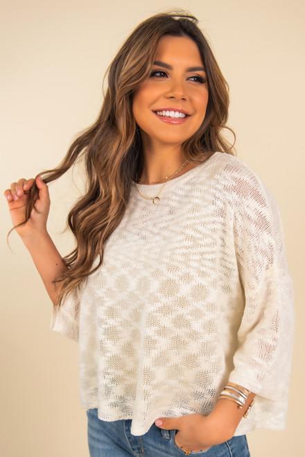 Lightweight Cream Round Neck Sweater