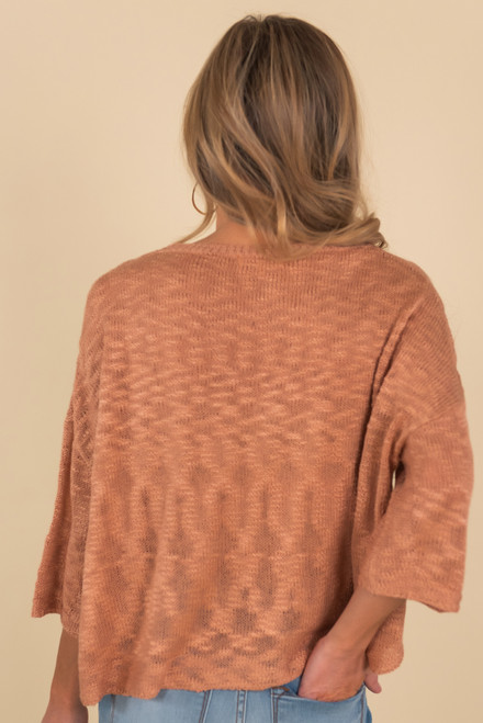 Lightweight Mauve Round Neck Sweater