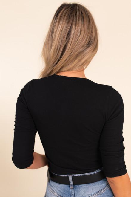 3/4 Sleeve Black Henley Bodysuit