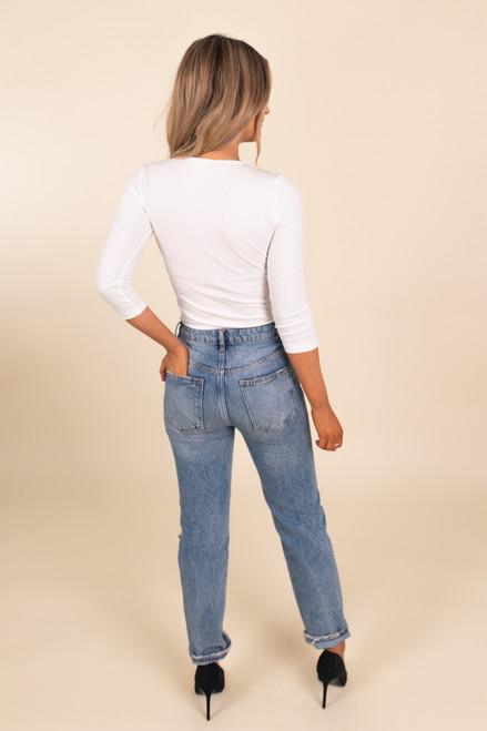 3/4 Sleeve Ivory Henley Bodysuit