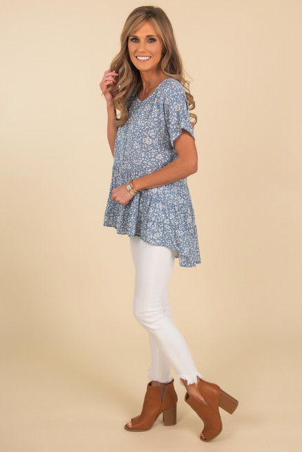 Short Sleeve Ruffle High Low Floral Top