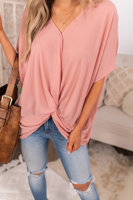 Surplice Twisted Knot Mauve Top