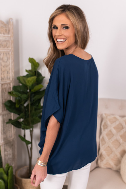 Surplice Twisted Knot Navy Top