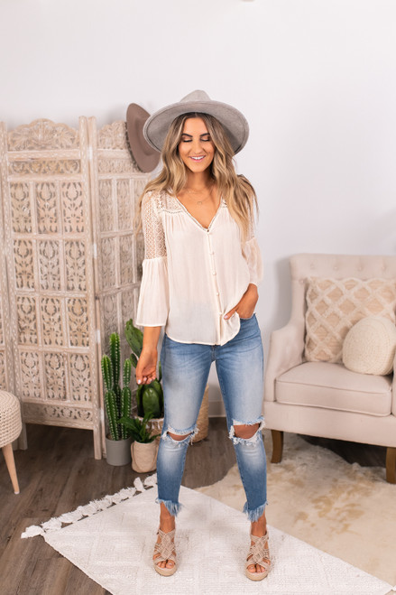 Button Down Ivory Crochet Lace Top