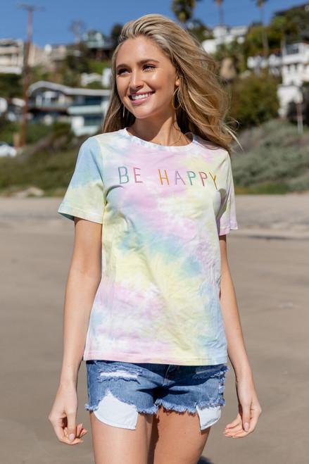 Be Happy Tie Dye Tee