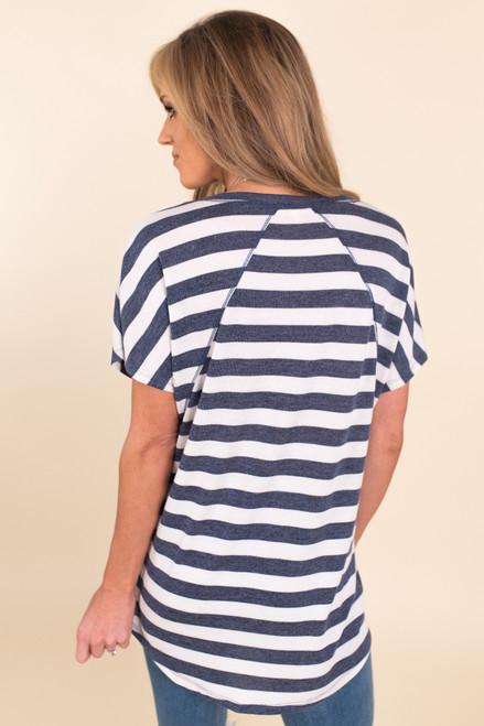 Seam Detail Navy Striped Tee