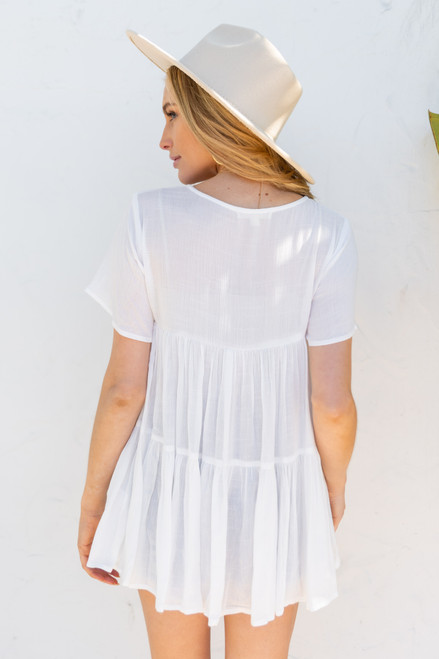 Short Sleeve White Tiered Top