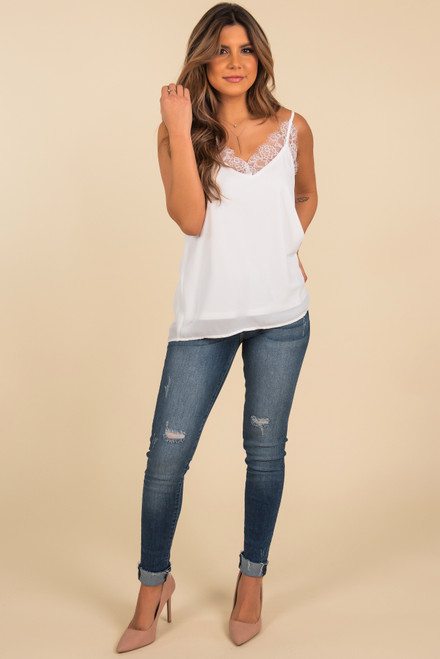 In Love V-Neck Ivory Lace Tank