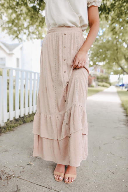 Button Down Taupe Dotted Maxi Skirt