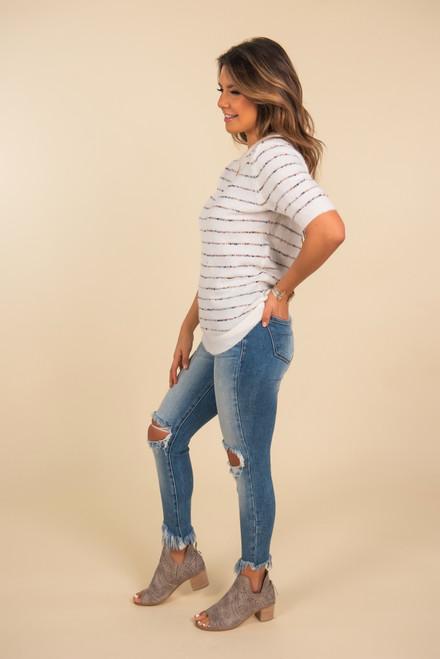 Short Sleeve Confetti Striped Sweater