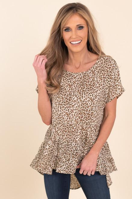 Short Sleeve Ruffle High Low Leopard Top