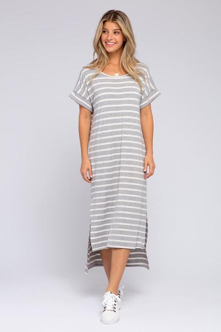 Cuffed Sleeve Grey Striped Slit Maxi
