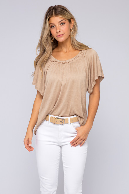 Ruffle Boatneck Sand Knit Top