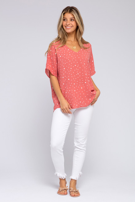 Short Sleeve Coral Dotted Top