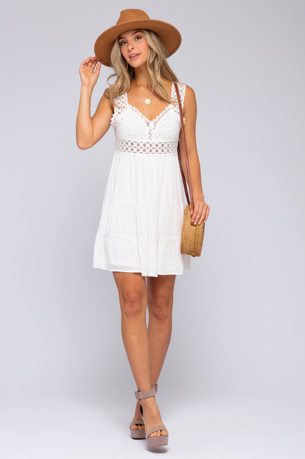 Eyelet Detail Tie Back White Dress