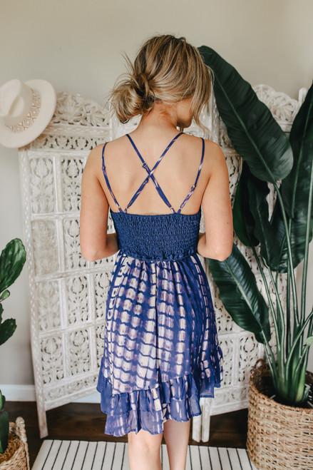 V-Neck Navy Tie Dye Lace Dress