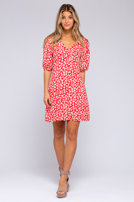 Lilo Button Down Red Floral Dress