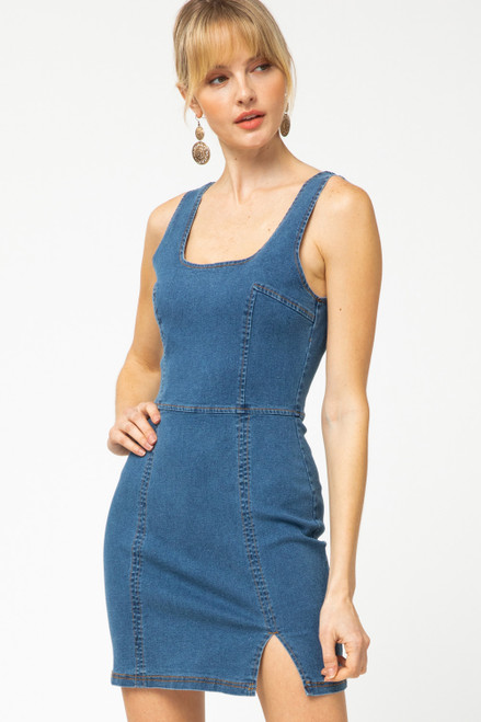 Dani Dark Wash Denim Bodycon Dress