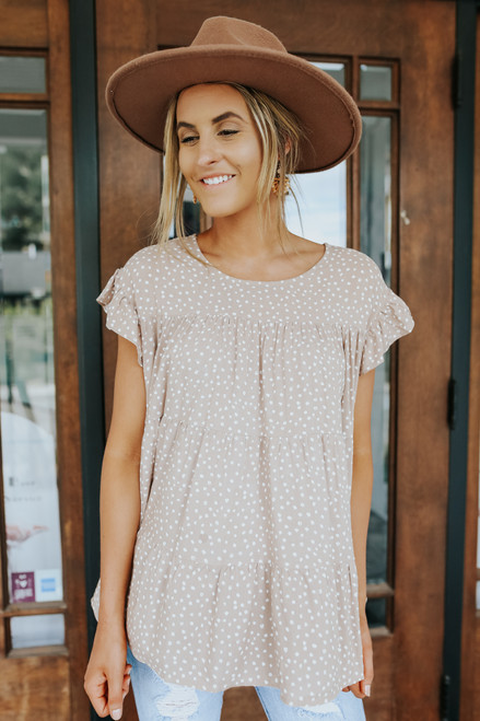 Ruffle Sleeve Beige Dotted Tiered Blouse