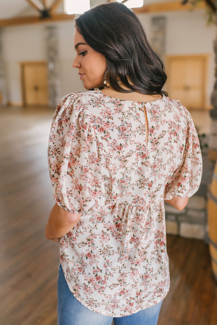 Puff Sleeve Cream Floral Blouse