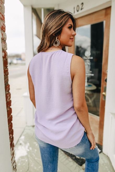V-Neck Sleeveless Lavender Crinkle Blouse