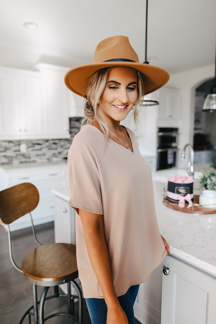 V-Neck Latte Crinkle Blouse