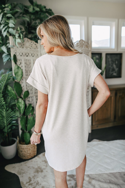 Short Sleeve Oatmeal Ribbed Knit Dress