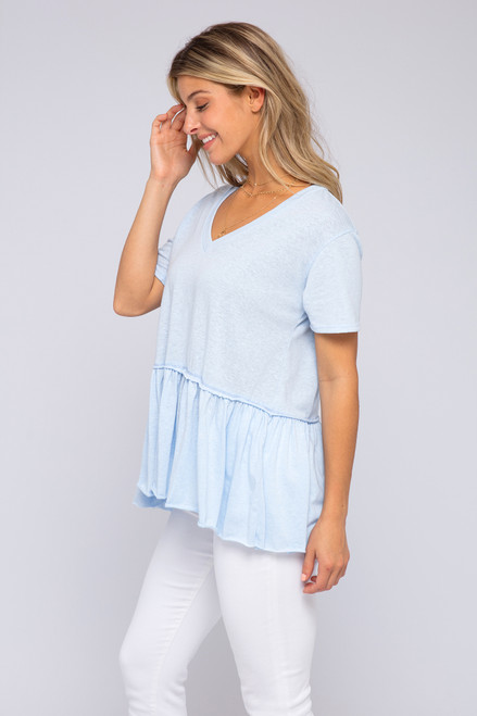 Short Sleeve Blue Peplum Tee