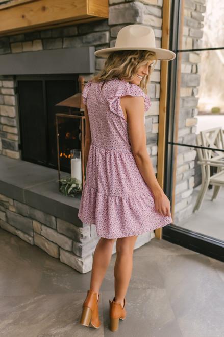 Mock Neck Lavender Floral Tiered Dress