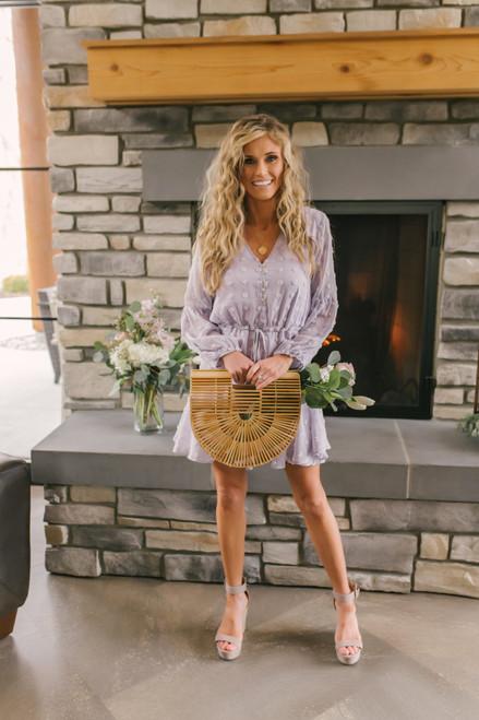 Button Down Lilac Pom Dress