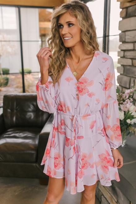 Button Down Lavender Floral Dress