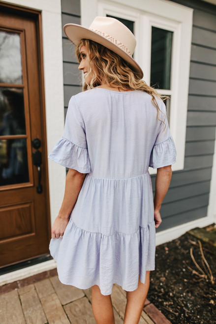 V-Neck Dusty Blue Babydoll Dress