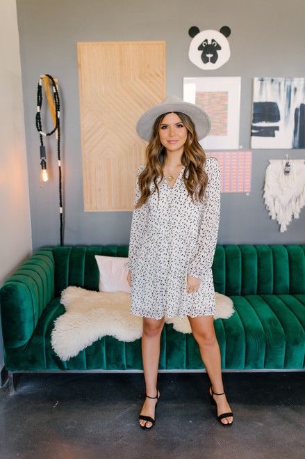 Button Down Feather Printed Dress
