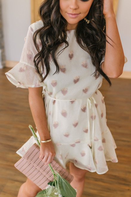 Short Sleeve Pom Cactus Cream Dress