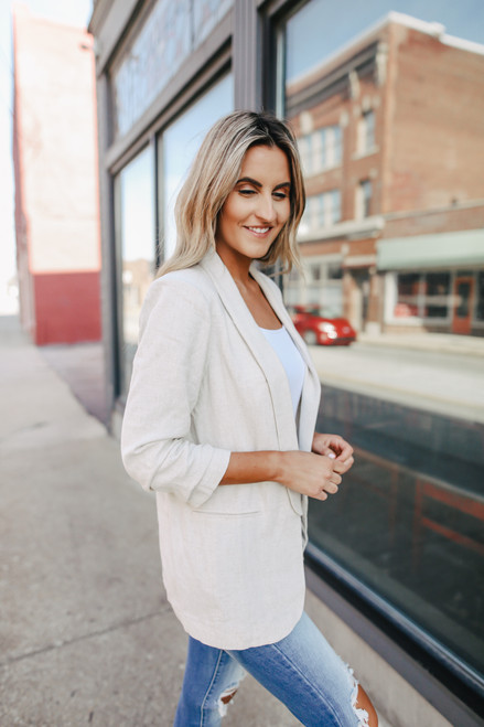 Cuffed Sleeve Natural Linen Blazer