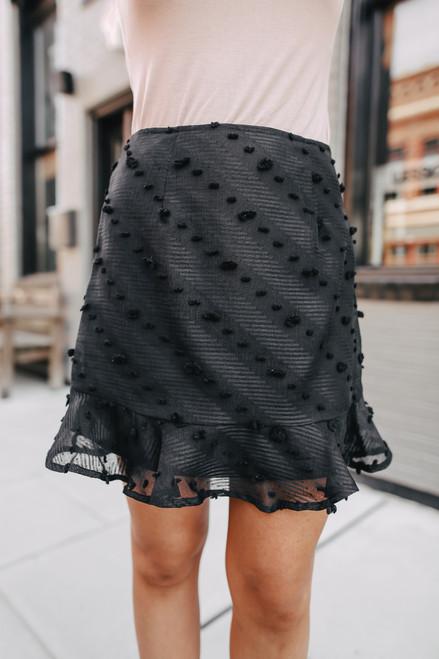 Ruffle Hem Black Pom Skirt