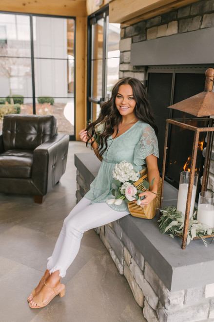 Button Down Sage Lace Babydoll Top