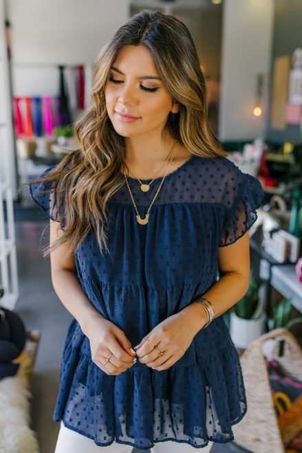 Ruffle Sleeve Navy Tiered Dotted Blouse