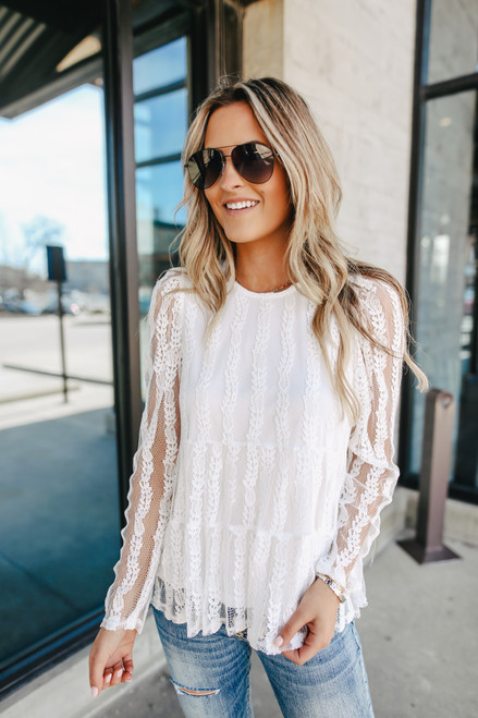 Long Sleeve White Lace Tiered Blouse