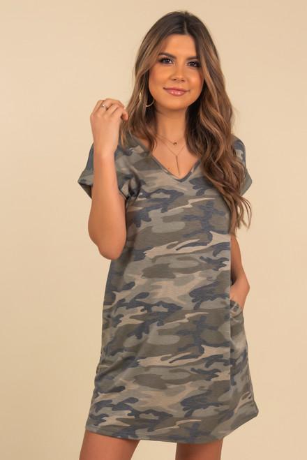 V-Neck Camo T-Shirt Dress