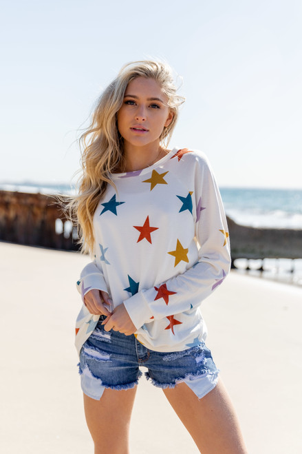 Multicolored Star Pullover
